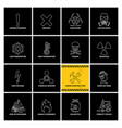 16 warning labels with line icons vector image vector image