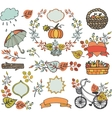 Autumn leaves branchesPlant decorationsharvest vector image