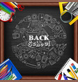 back to school and whiteboard with colored pencils vector image