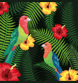 birds with tropical flowers and leaves background vector image