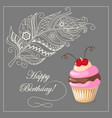 birthday card with cake cherry and feather vector image vector image