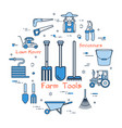 blue round farmers tools concept vector image