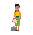 business woman with papers vector image vector image