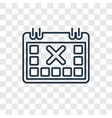 calendar with letter x concept linear icon vector image