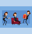 cartoon flat funny business woman character set vector image vector image