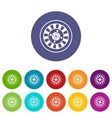 Casino gambling roulette set icons vector image vector image