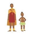 Chief And His Son In Skirt From African Native vector image vector image