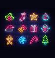 christmas neon icons set happy vector image