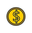 coin dollar money flat icon vector image