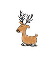 color crayon stripe cartoon of funny reindeer lazy vector image