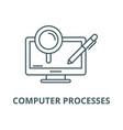 computer processes line icon computer vector image vector image