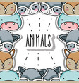 cute animals patches background design vector image