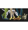 Cute dogs with their owners vector image vector image
