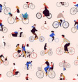 different cartoon people cyclist seamless pattern vector image