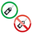 Dollar price permission signs set vector image vector image