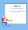education poster with profile of smiling girl vector image