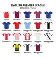 English Premier League 2015 - 2016 football icons vector image vector image