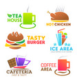 fastfood food meals icons vector image