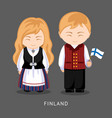 finns in national dress with a flag vector image vector image