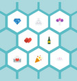 flat icons brilliant sparkler posy and other vector image vector image