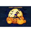 funny cartoon halloween pumpkins and moon vector image vector image