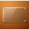 glass plate for your signs on wooden vector image