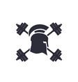 gym logo emblem spartan helmet barbells vector image