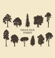 hand drawn silhouettes different trees create vector image