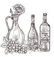 hand drawn wine decanter with roses wine bottles vector image vector image