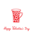 Love mug with hearts Happy Valentines Day vector image vector image