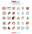 meat and milk icons vector image vector image