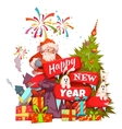 Merry Christmas banner with Santa Claus ribbon vector image