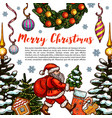 merry christmas holiday sketch greeting vector image