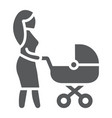 mom with carriage glyph icon care and child vector image vector image