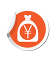 moneybag yen icon orange label vector image vector image