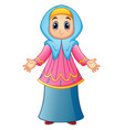muslim girl wearing blue veil and pink clothes pre vector image vector image