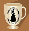 nostalgic beige coffee cup with victorian lady vector image vector image