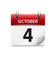 October 4 flat daily calendar icon Date vector image vector image