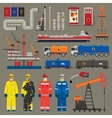 Oil industry set with pipeline brush vector image