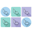 outlined icon of orthogonally curved arrow with vector image vector image