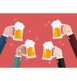 People clinking beer glasses vector image vector image