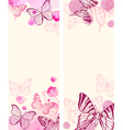 Red butterflies and pink watercolor blots vector image vector image
