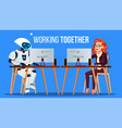 robot working in the office at computer desk vector image vector image
