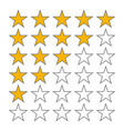 row of five stars rate 5 star rating icons vector image