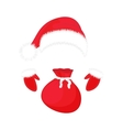 Santa Claus hat gloves and a bag of gifts vector image vector image