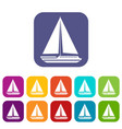 sea yacht icons set vector image vector image