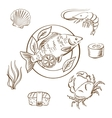 Seafood sketches with fish sushi crab and shrimp vector image