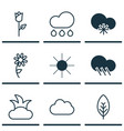 set of 9 landscape icons includes cloud sunshine vector image vector image