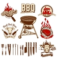 Set of design elements for bbq and grill labels vector image vector image