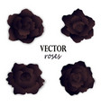 set of four paper black roses vector image vector image